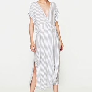 Excellent Condition Zara Midi Striped Wrap Dress